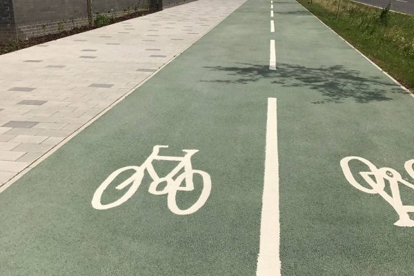 Coloured Cycle Paths in Barking, London