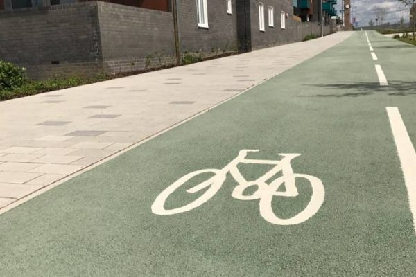 Coloured Cycle path in NatraTex Colour green