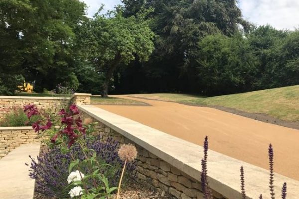 Colourful paving for park footpaths and decorative landscaping