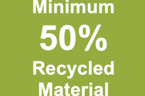 Minimum 50% Recycled Material
